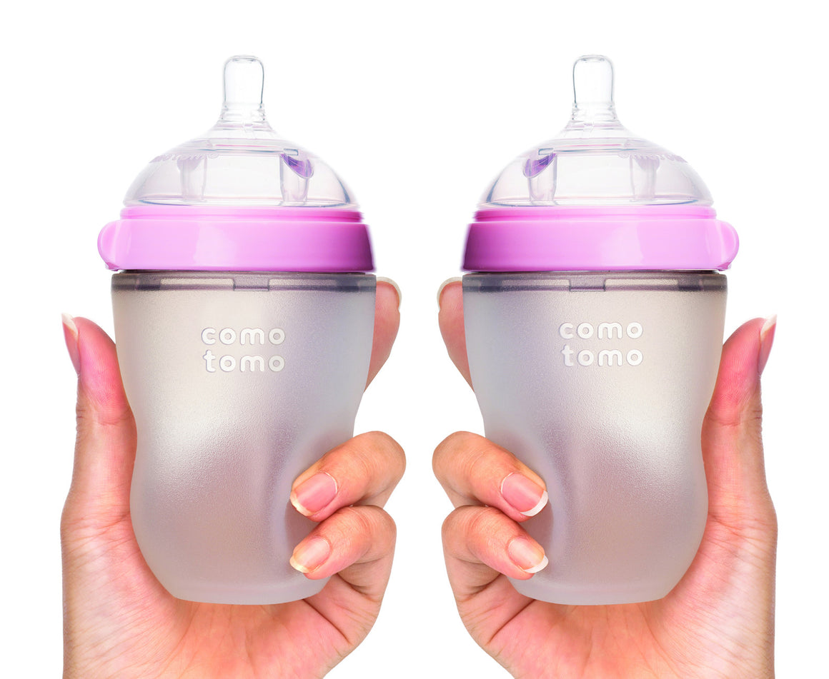 COMOTOMO  Baby Bottle, Pink, 8 Ounce, Double Pack