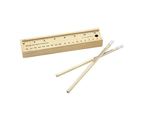 Wooden Ruler Box with Pencil