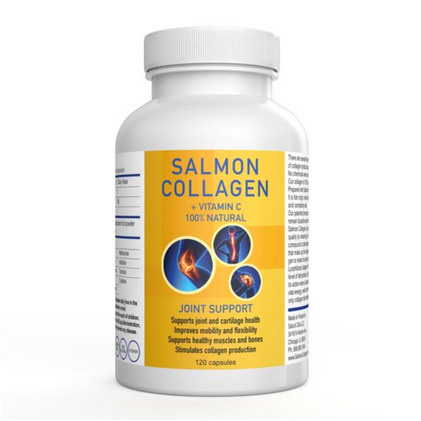 SALCOLL COLLAGEN Wild Caught Salmon Collagen for Joint Pain, Rheumatoid Arthritis, Osteoporosis 120 CAPSULES