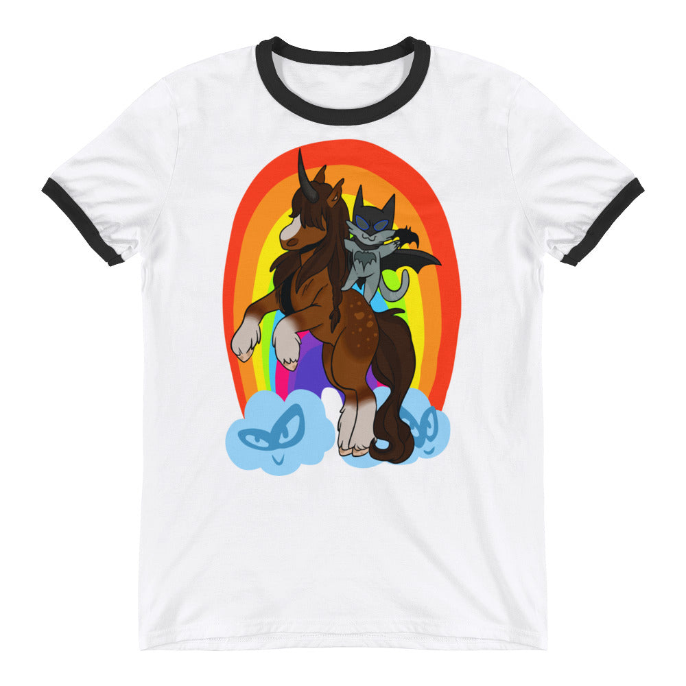 Awesome Batman Catman Funny Rainbow Cool Unicorn Style Ringer T-Shirt - Awkward Television
