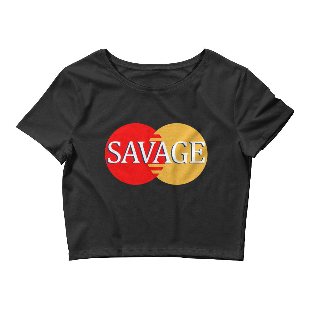 Women's Sexy Savage Master card logo Crop Top Tee - Awkward Television