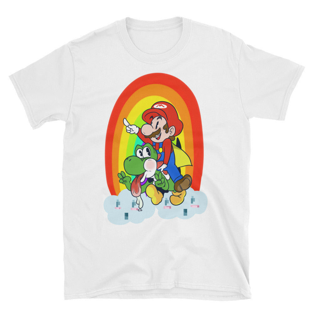 Funny Super Mario Bros Yoshi world Rainbow Nintendo 64 Nes Snes Game Cube Wii Switch T-Shirt - Awkward Television