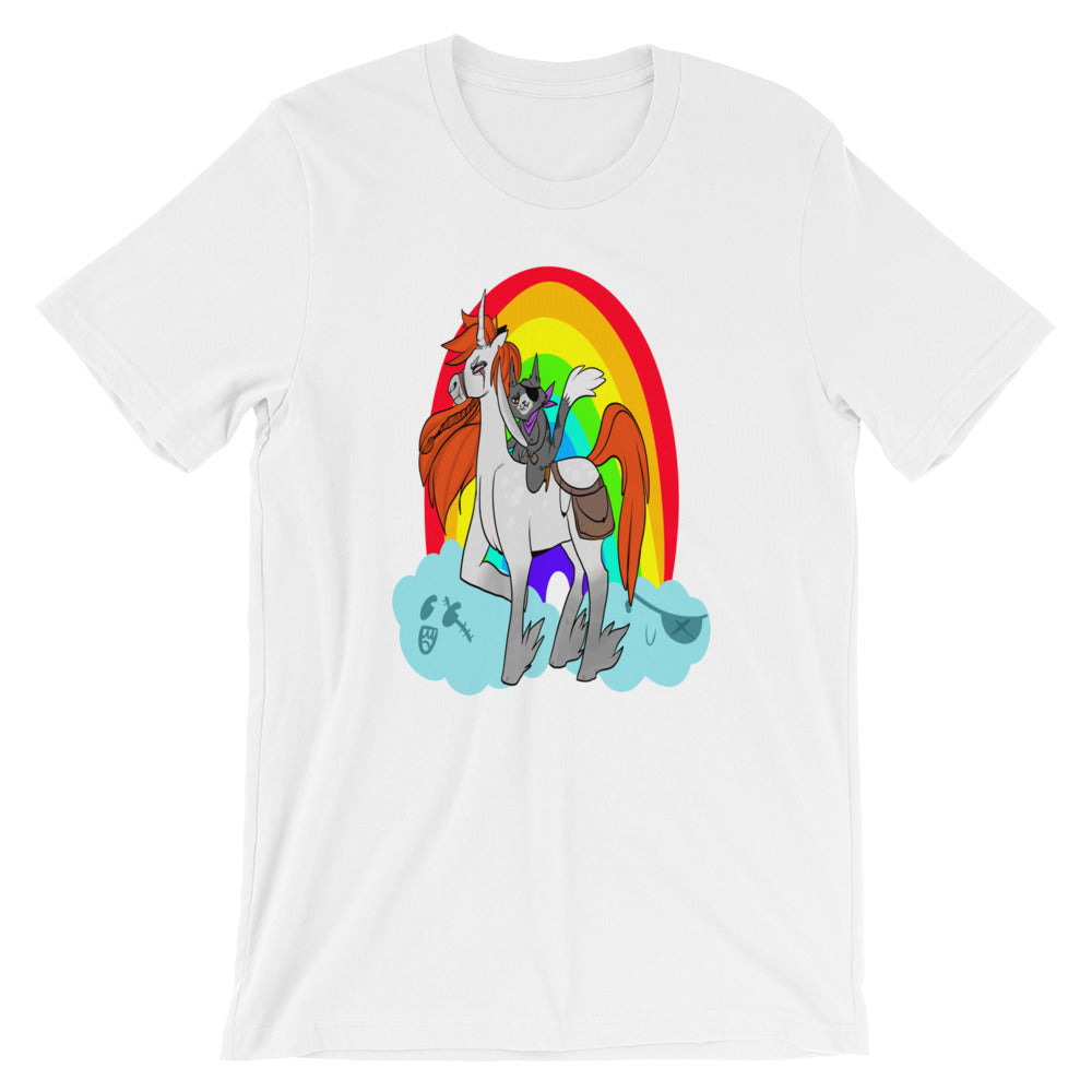 Cool Pirate Kitty Cat Rainbow Unicorn Funny Cute Printed Design Fashion Tee Unisex T-Shirt - Awkward Television