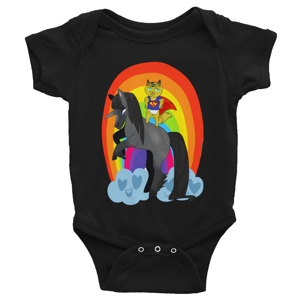 Cute Superman Rainbow Unicorn Cat Baby Clothes Infant Bodysuit - Awkward Television