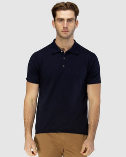 Short Sleeve Knit Polo With Collar