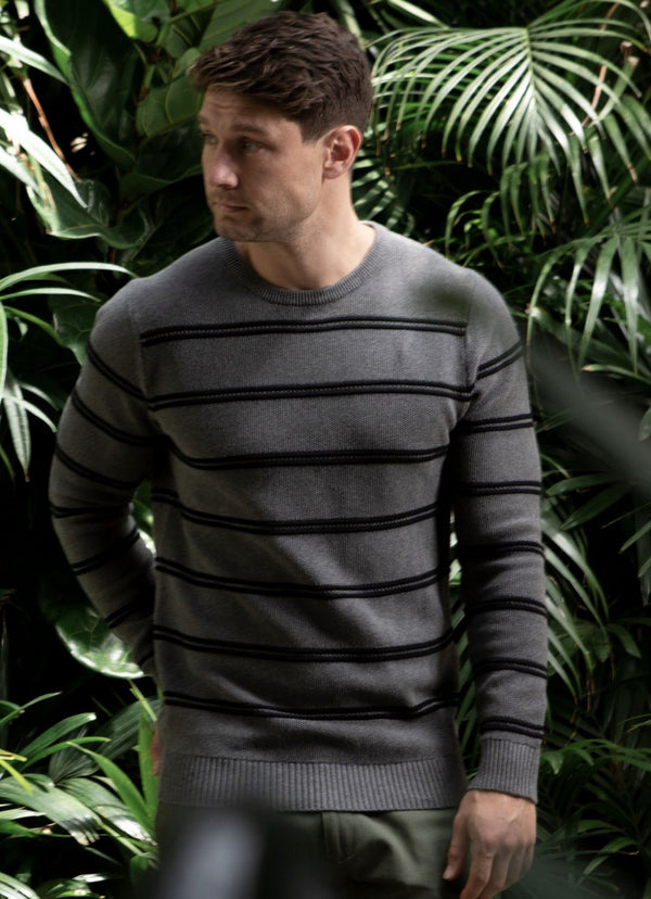 Brooksfield Striped Crew Long Sleeve Knit