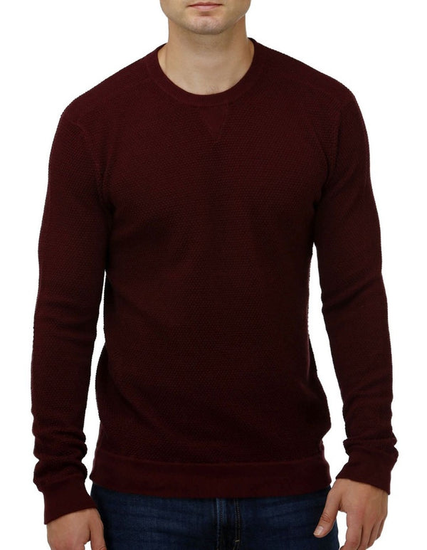 Brooksfield V Panel Crew Knit Long Sleeve