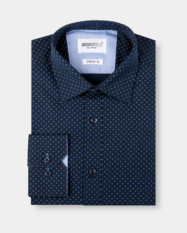 Brooksfield Tonal Print Business Shirt
