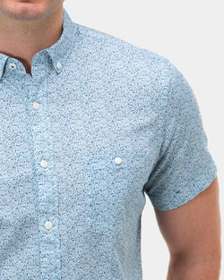 Brooksfield Floral Print Short Sleeve Casual Shirt