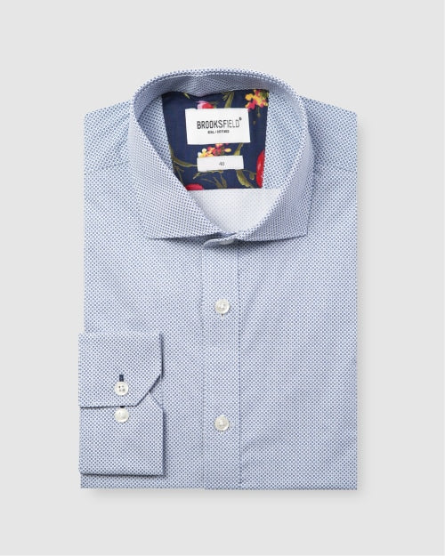 Brooksfield Career Micro Square Print Business Shirt 1588