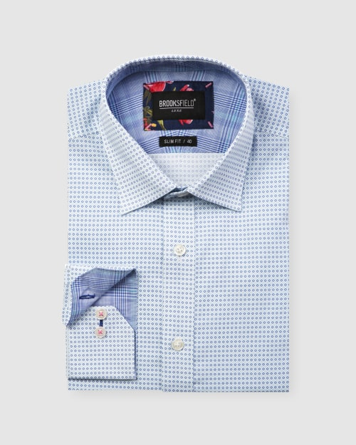 Brooksfield Luxe Two-Tone Diamond Print Business Shirt 1608
