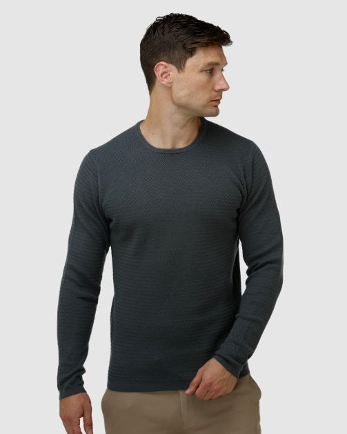 Brooksfield Textured Core Crew Neck Sweater