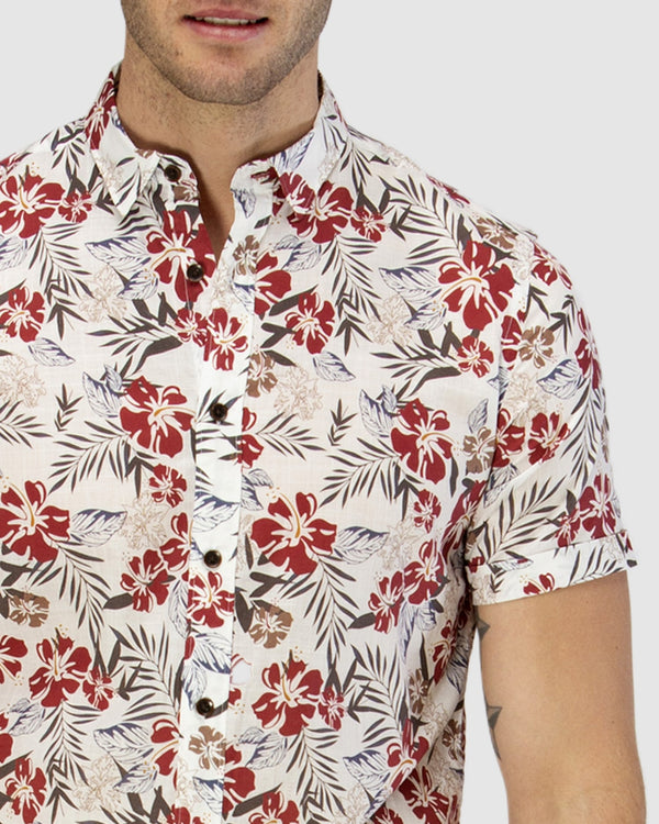 Brooksfield Print Short Sleeve Casual Shirt