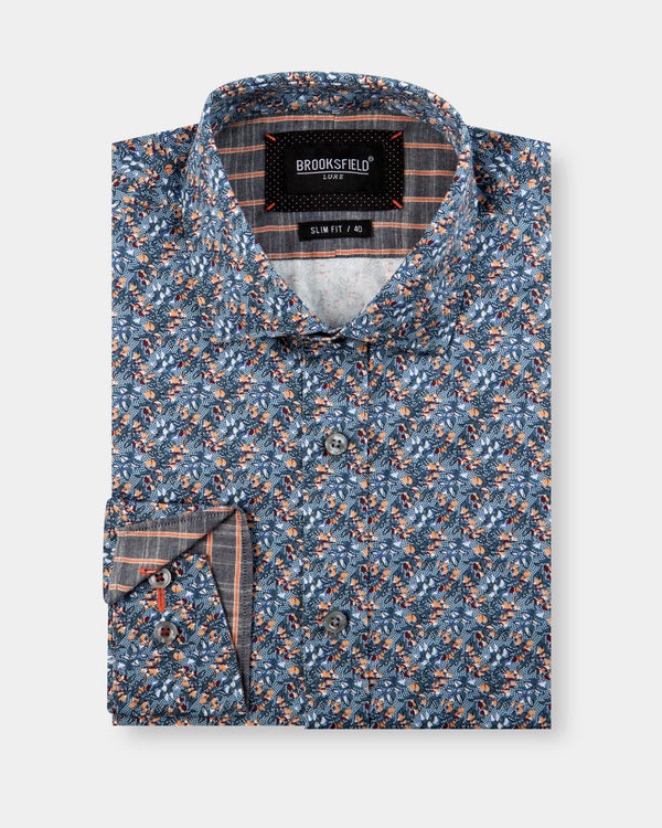 Brooksfield Floral Print Dress Shirt
