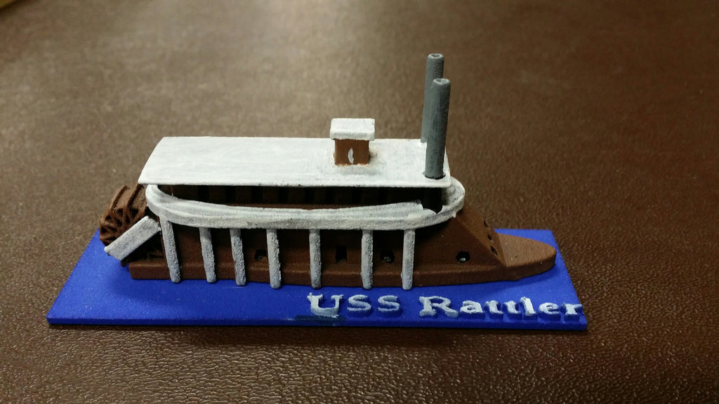 USS Rattler (Price for PAINTED Model - Unpainted Available on Shapeways)