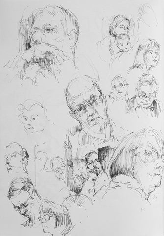 Train Commuter Studies - Original Pen on Paper