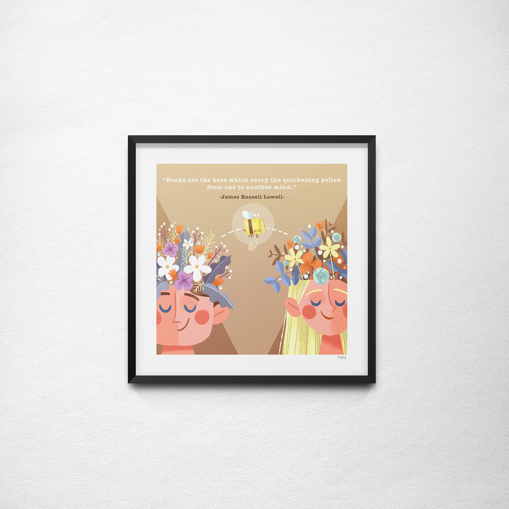 """Books Are Like The Bees"" James Russell Lowell x Teressa Ong - 297mm x 297mm Giclée Print"