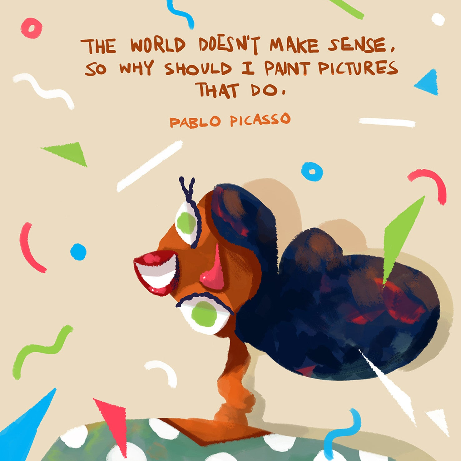 """The World Doesn't Make Sense"" Pablo Picasso x Teressa Ong - 297mm x 297mm Giclée Print"