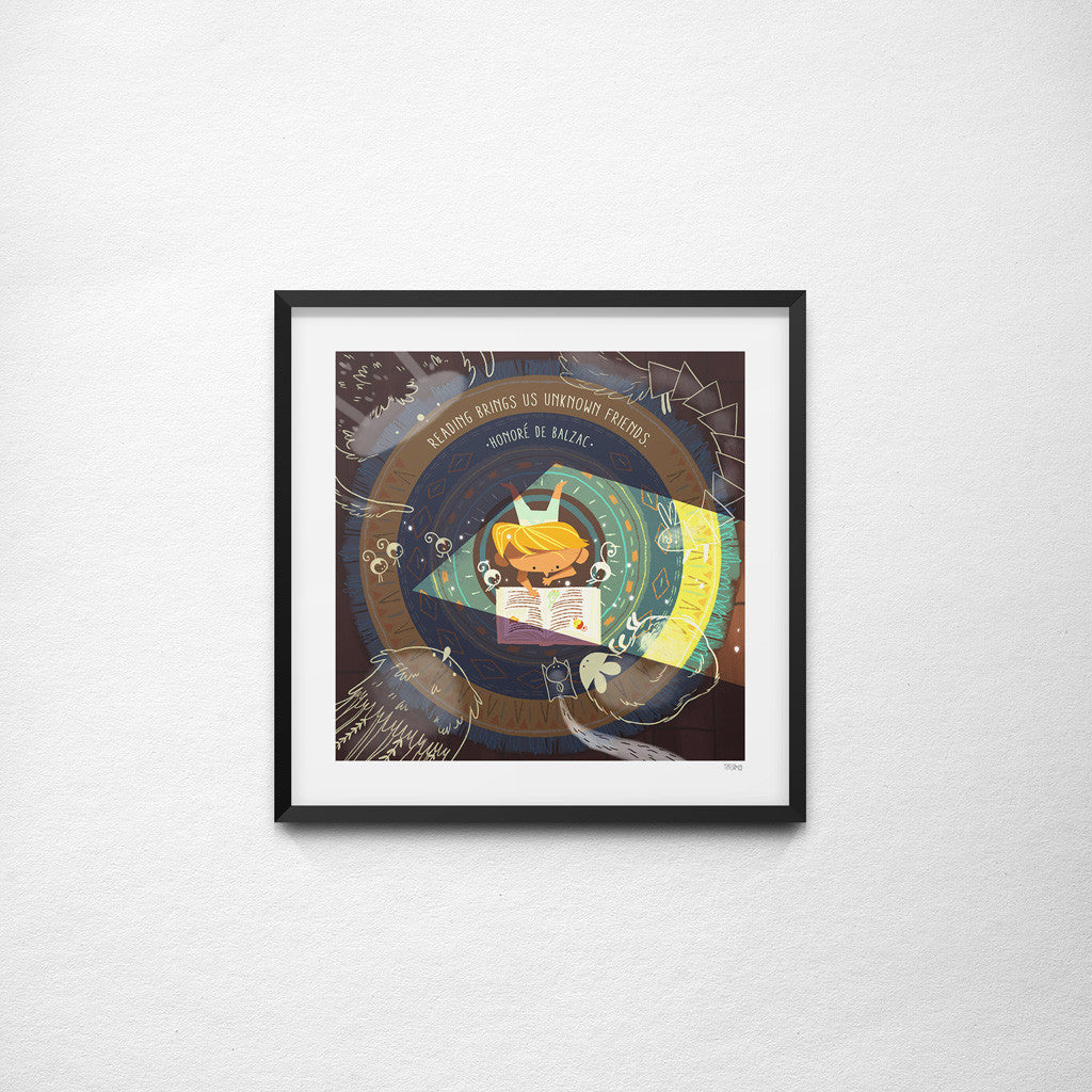"""Reading Brings Us Unknown Friends"" Honoré de Balzac x Teressa Ong - 297mm x 297mm Giclée Print"