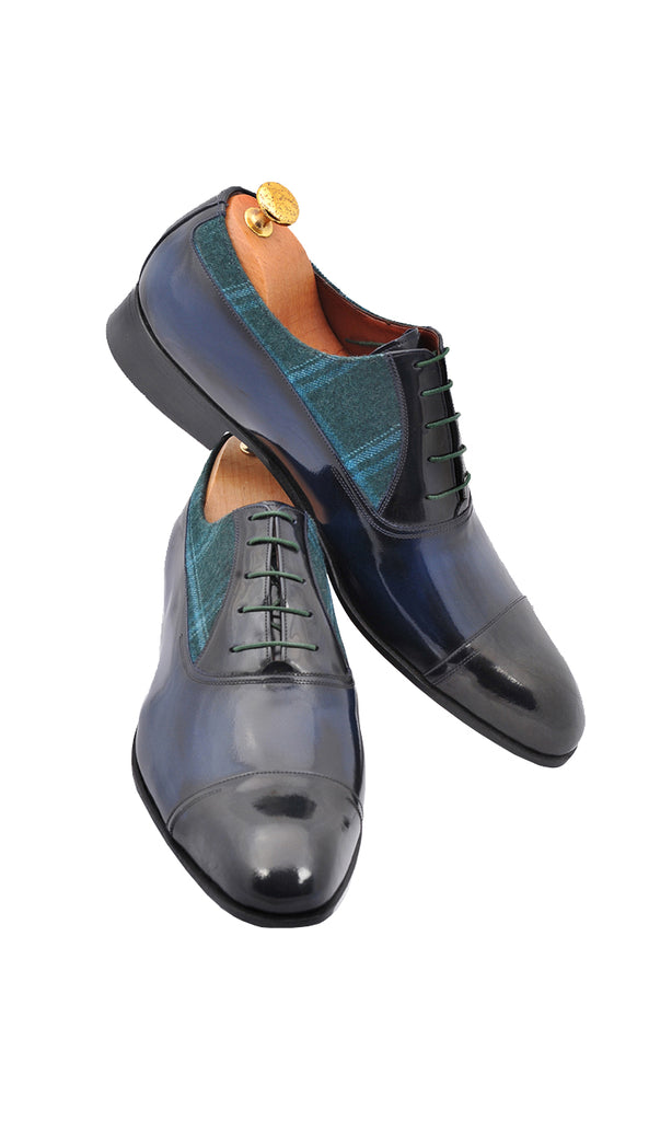 Handmade Navy Blue Leather and Green Fabric Men Shoes