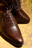 Handmade Full Brown Crocodile Men Shoes
