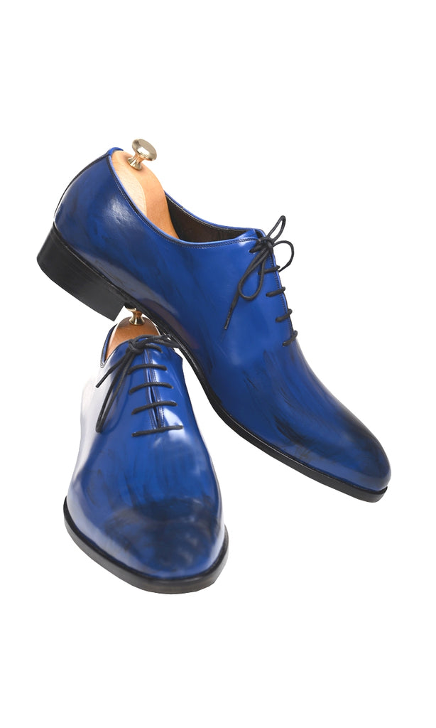 Handmade Blue Patina Men Shoes