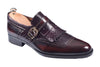 Handmade Bordeaux Leather and Purple Snake Tassled and Buckled Men Shoes