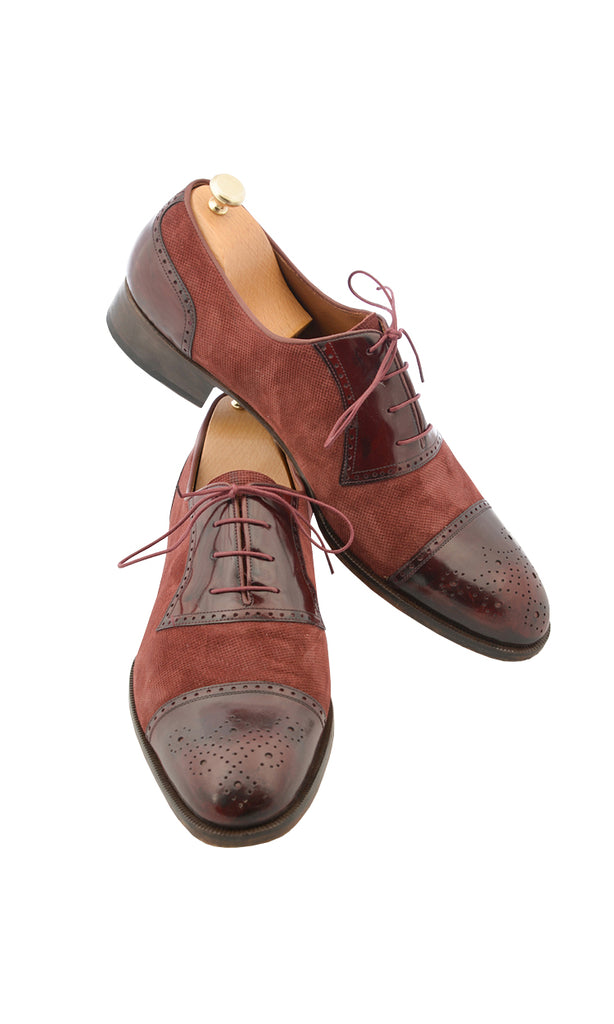 Handmade Bordeaux Linen Men Shoes