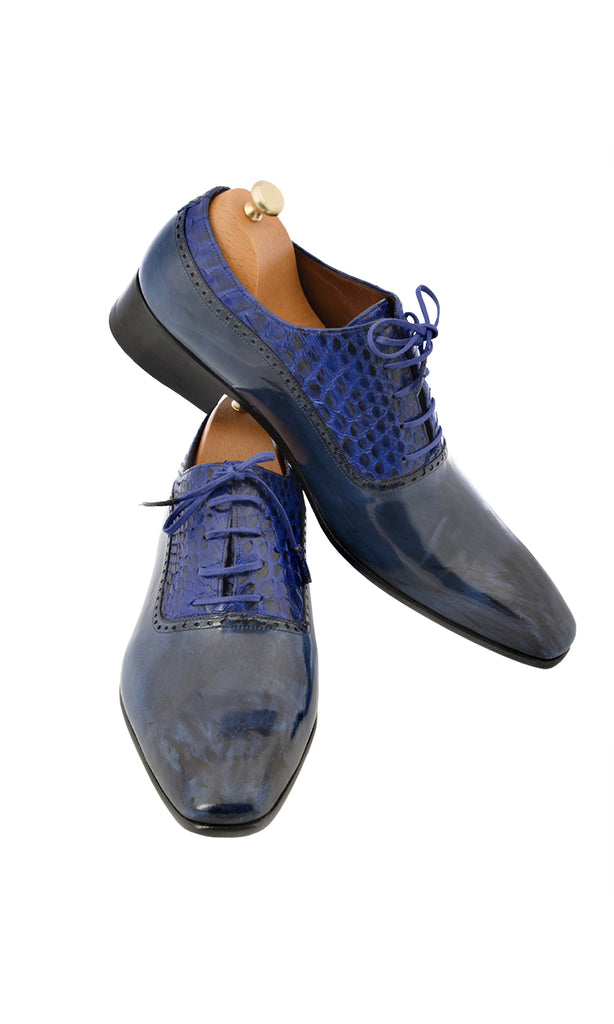 Handmade Blue and Blue Snake Leather Lace-Up Men Shoes
