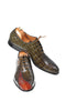 Handmade Green And Brown Crocodile Skin Men Shoes