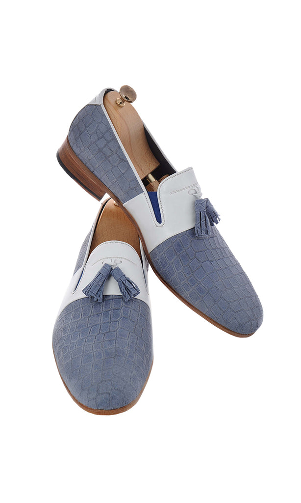 Handmade White and Turquoise Loafer Men Shoes