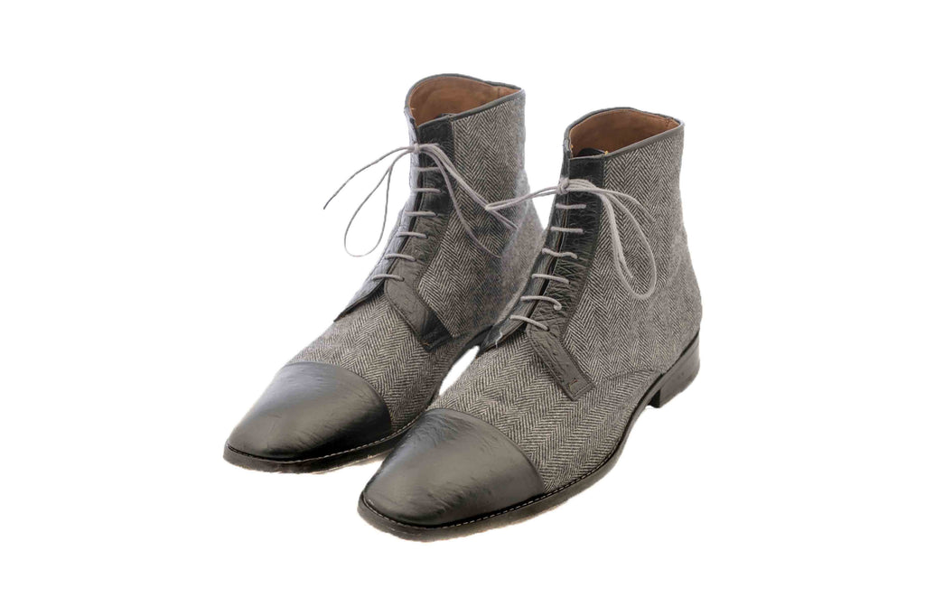 Handmade Black and Grey Fabric Lace Up Men Boots