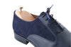 Handmade Navy Blue Leather and Suede Men Shoes