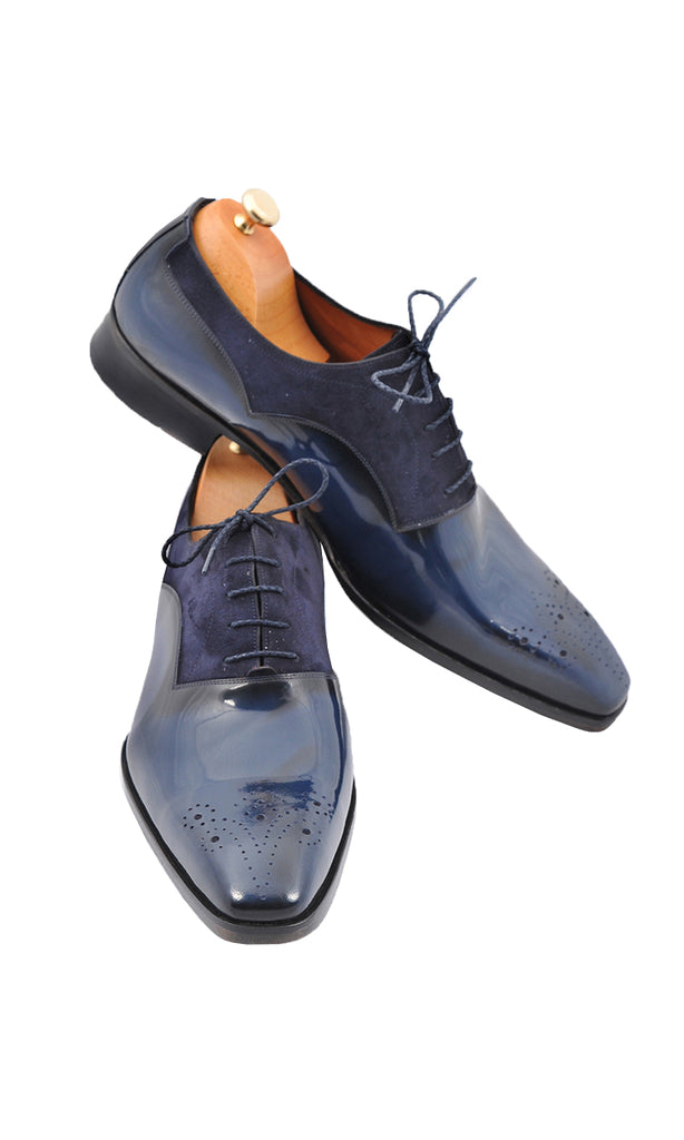 Handmade Navy Blue Leather and Suede Brouge Men Shoes