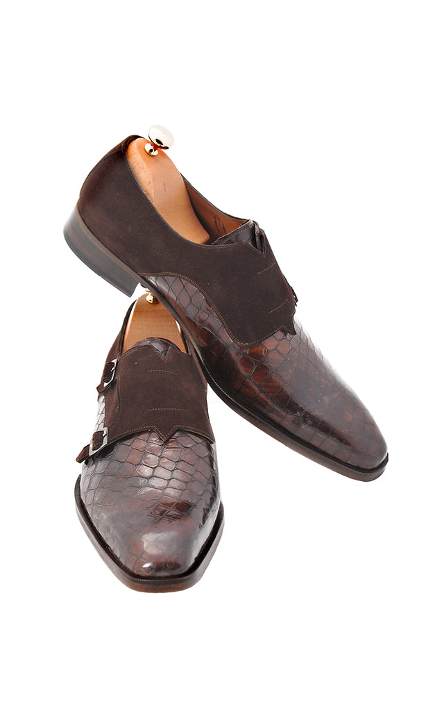 Handmade Monk Strap Brown Leather and Suede Men Shoes