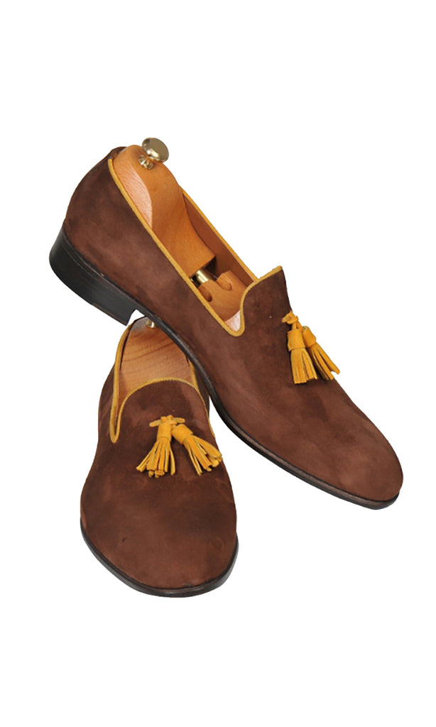 Handmade Brown Loafer Suede Men Shoes