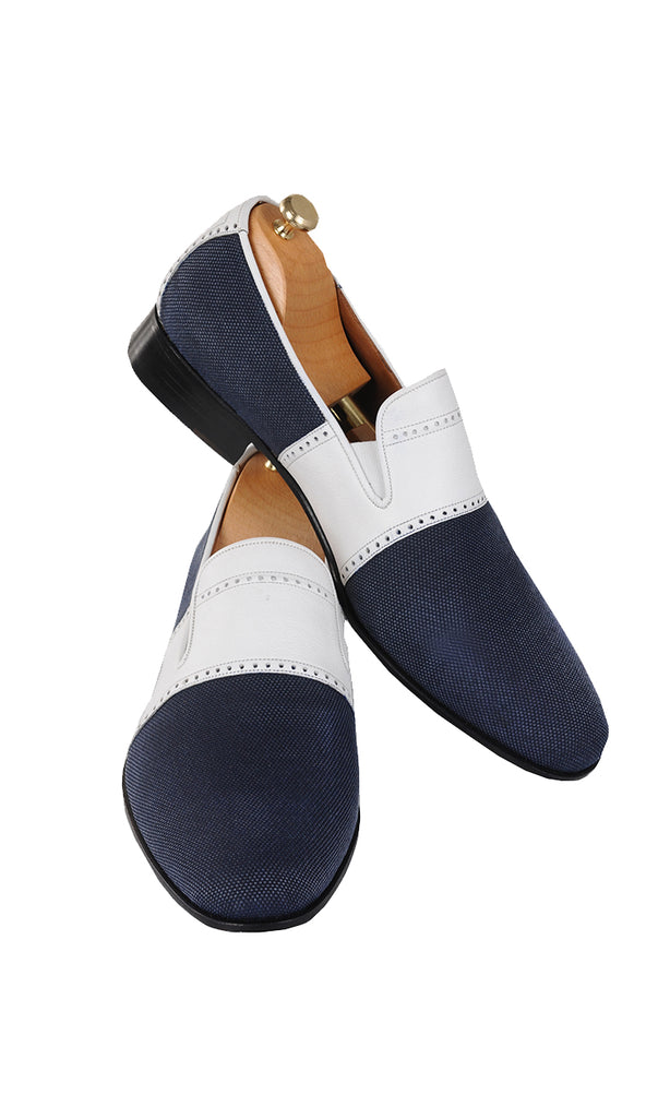 Handmade Blue and White Slip-On Men Shoes