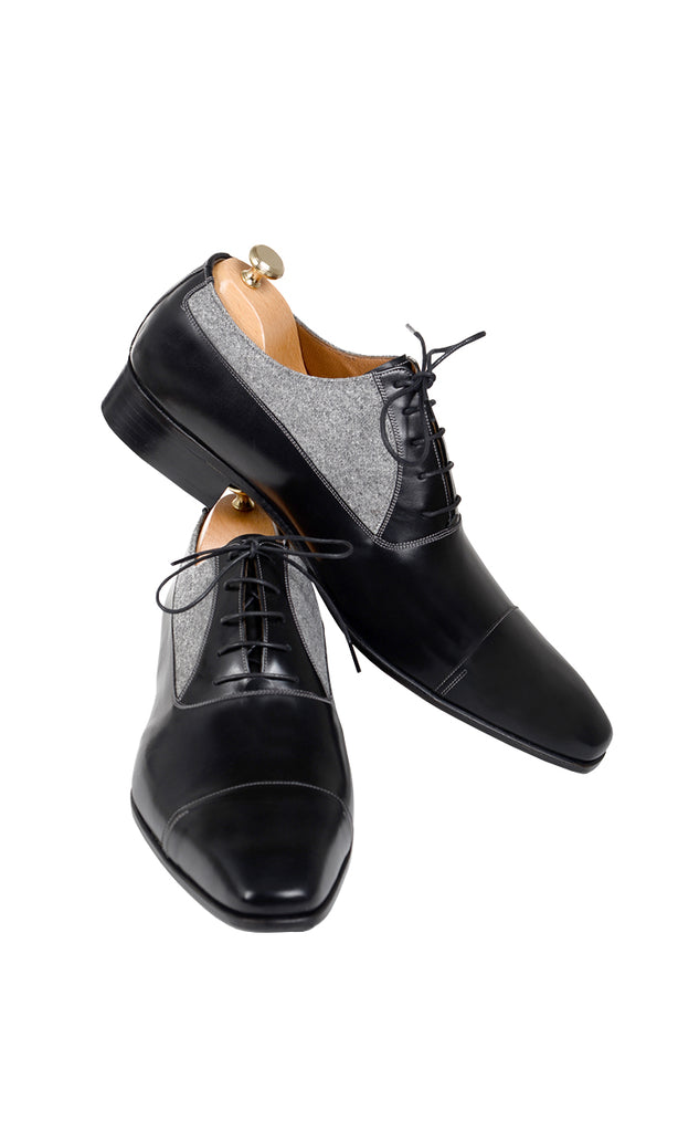 Handmade Black and Grey Fabric Men Shoes