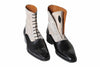 Handmade Black and Off-White Suede Men Boots