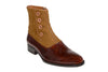 Handmade Brown Wooden and Fabric Men Boots