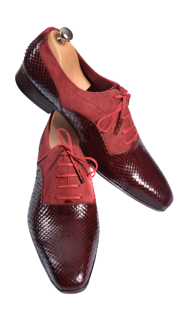 Handmade Red Snake and Suede Men Lace-Up Shoes