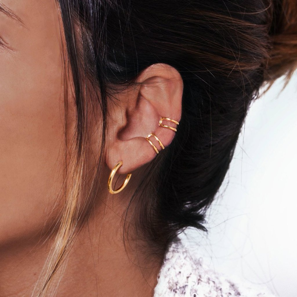 Pendientes Ear Cuff Double Ring Oro - singularu