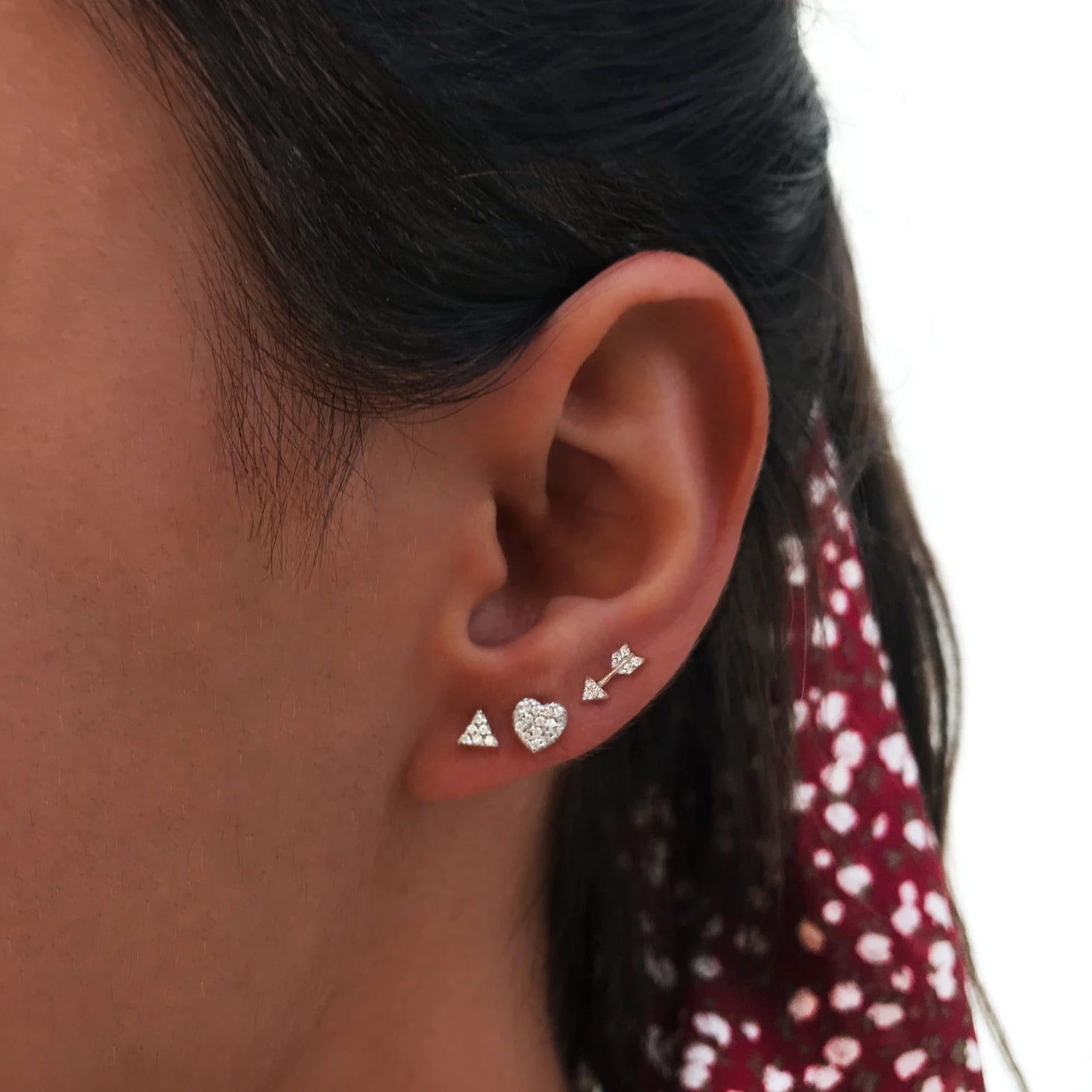 Pendientes Love Diamonds Plata, Pendientes Arrow y Triangle AB Diamonds Plata