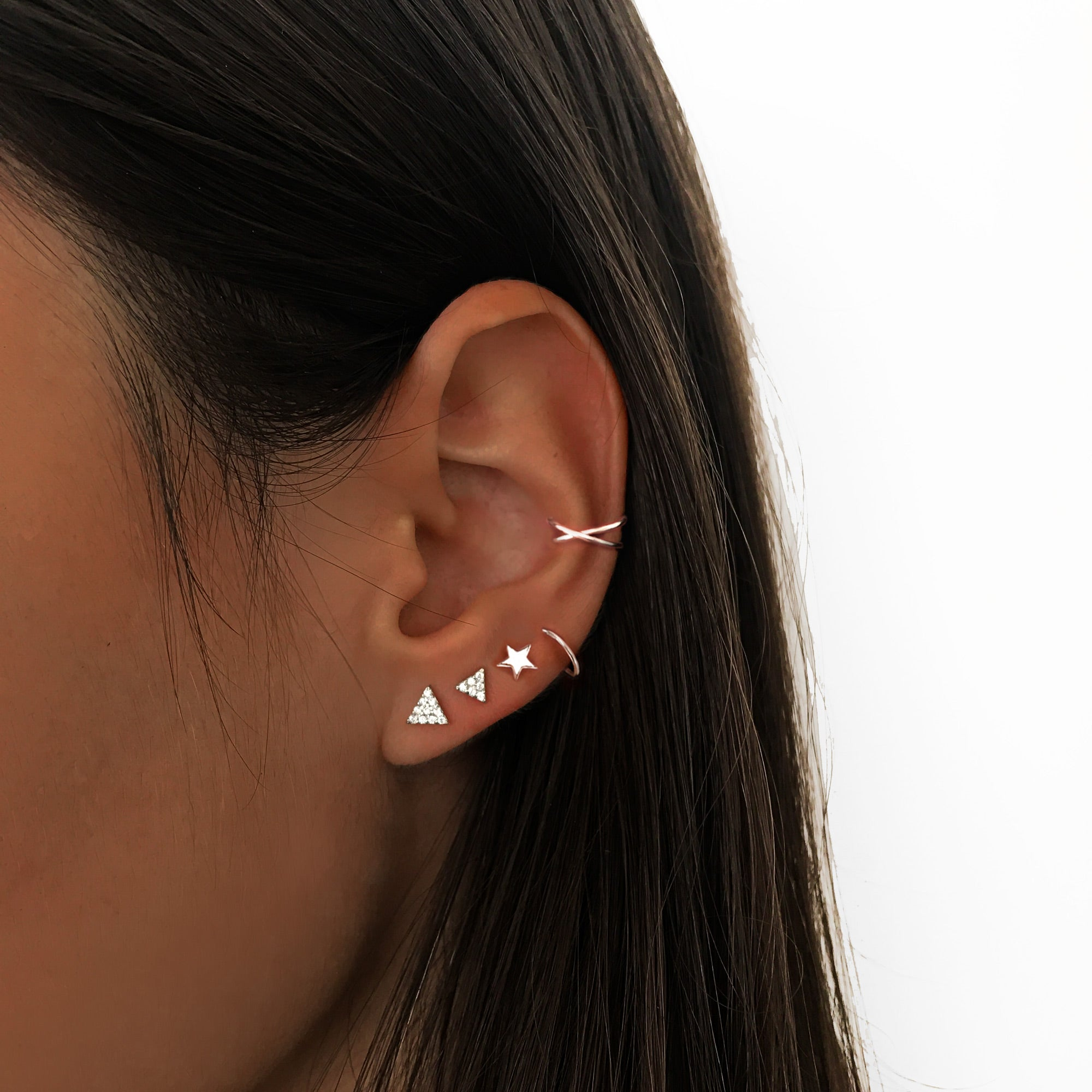 Pendientes Triangle AB Diamonds Plata combinado con el Pendiente Spiral Star e Ear Cuff Cross