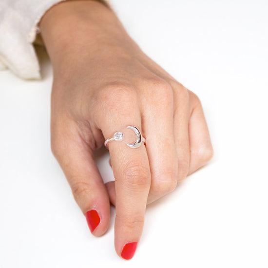 Anillo Diamond Moonset Plata - singularu