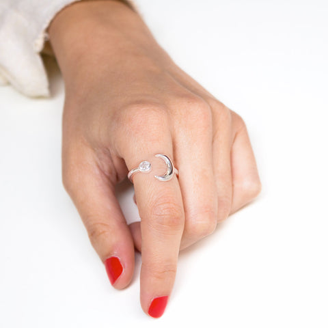 Anillo Diamond Moonset Plata