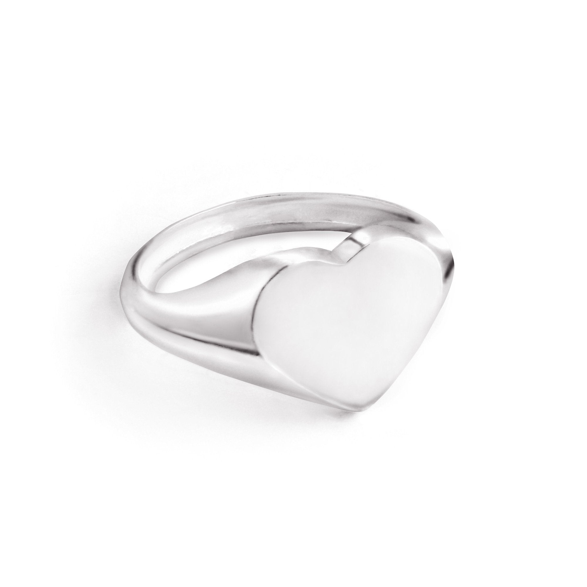 Anillo Sello Heart Plata