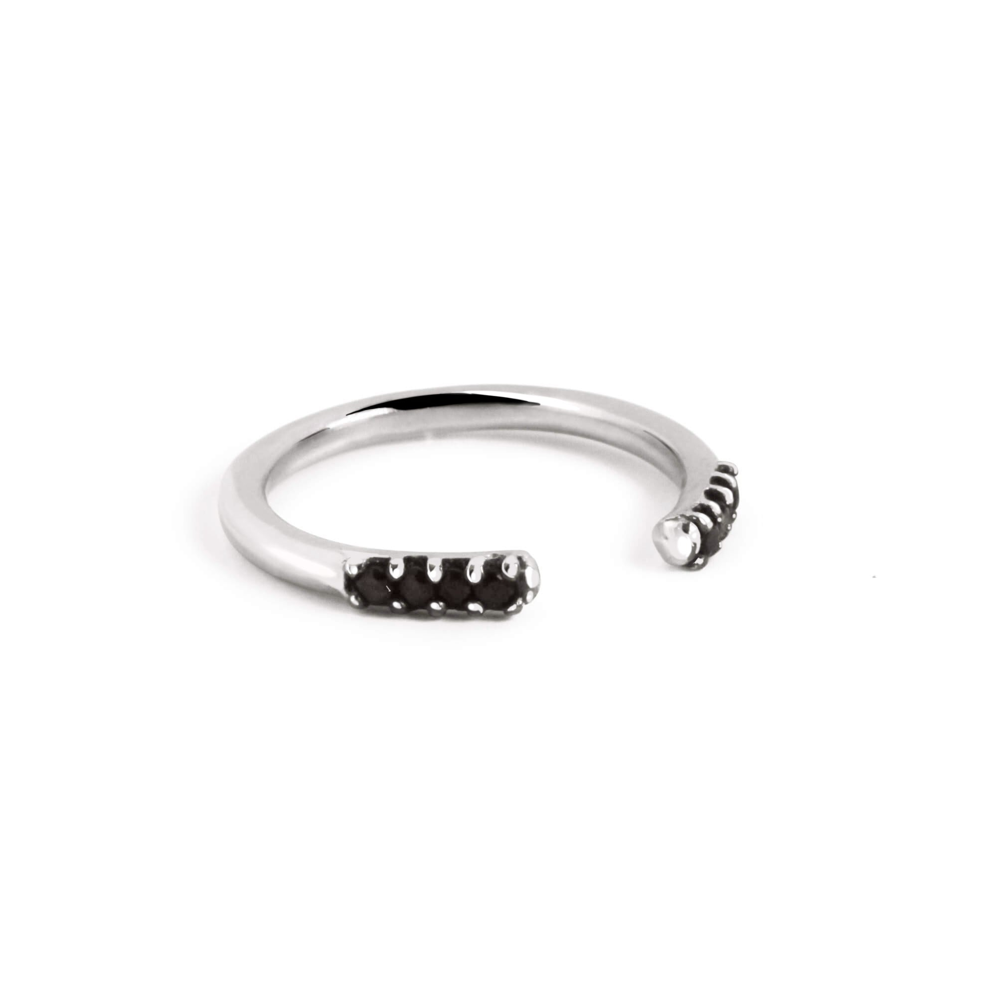 Anillo Spark Thin Black Plata