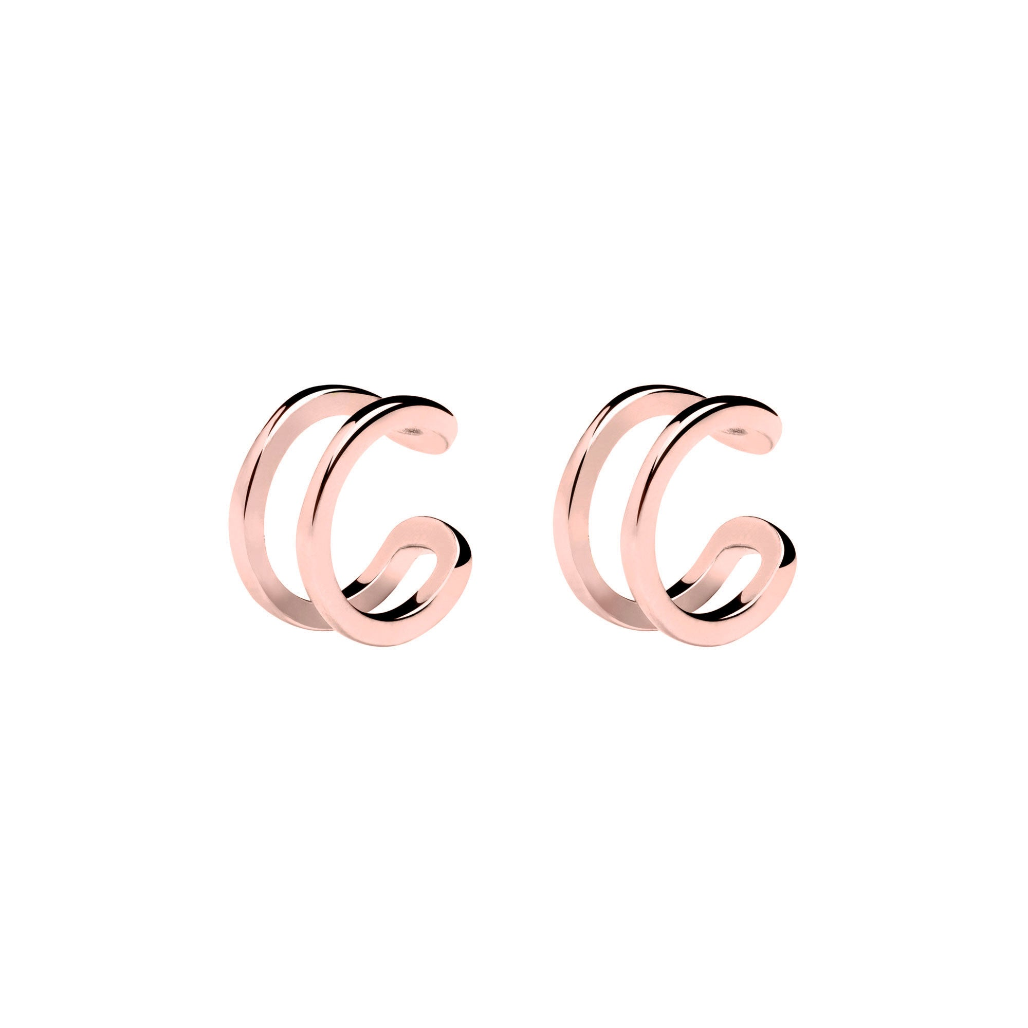 Pendientes Ear Cuff Double Ring Oro Rosa- Singularu