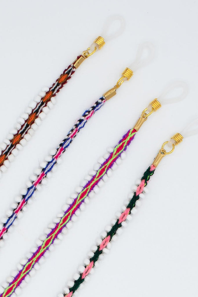 Close up of all 4 Senkapa Sunnycords handmade in Peru.